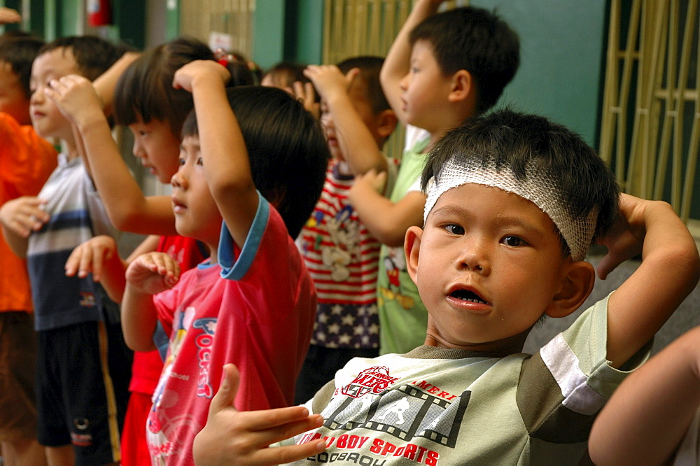 Education, taiwan. A school for children with special needs, tainan. Children at the school acting a play
