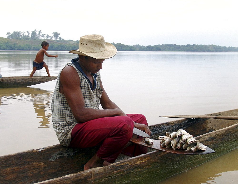 Colombia fisherman cleaning fish while he sits in his dugout canoe. A boy fishing with a line in the background. Rio magdalena, barrancabermeja