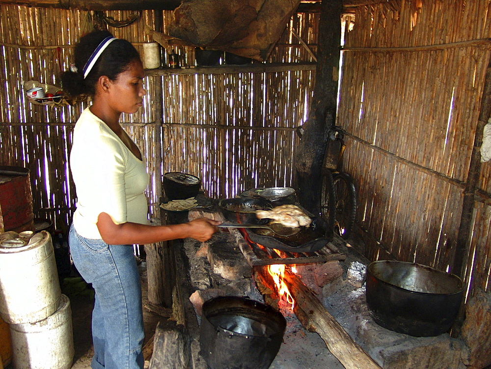 Colombia jasmine abufe grilling fish on a woodstove in her house beside the rio magdalena, barrancabermeja