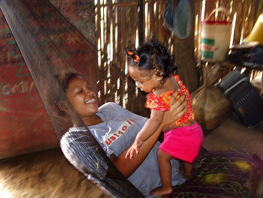 Colombia mother & child in hammock, barrancabermeja