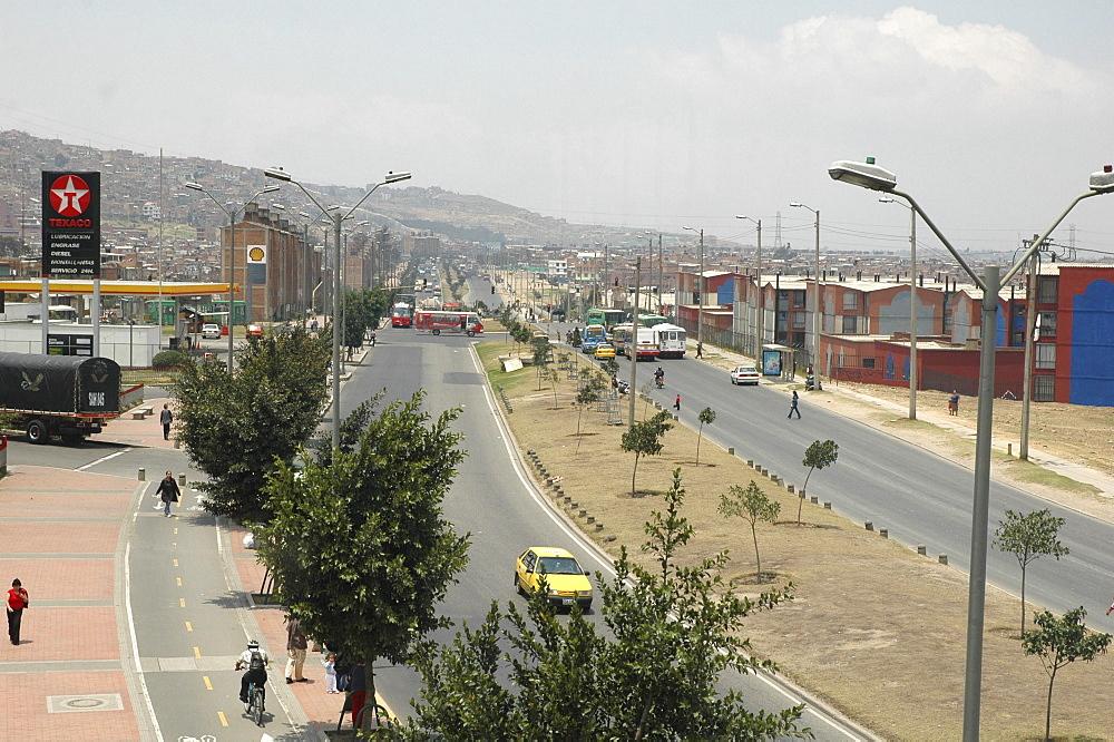Colombia main street of nueva candelaria, ciudad bolivar, bogota