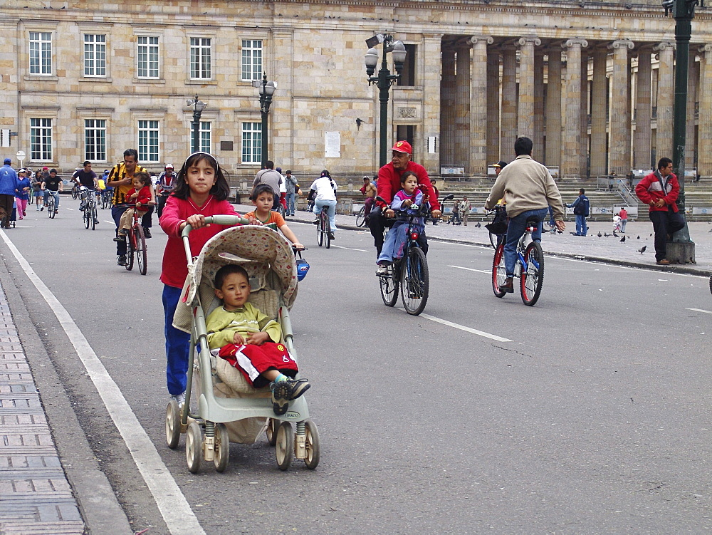 Colombia sunday in la candelaria, bogota, when the streets are closed to motor traffic and opened for cyclists until 2 pm