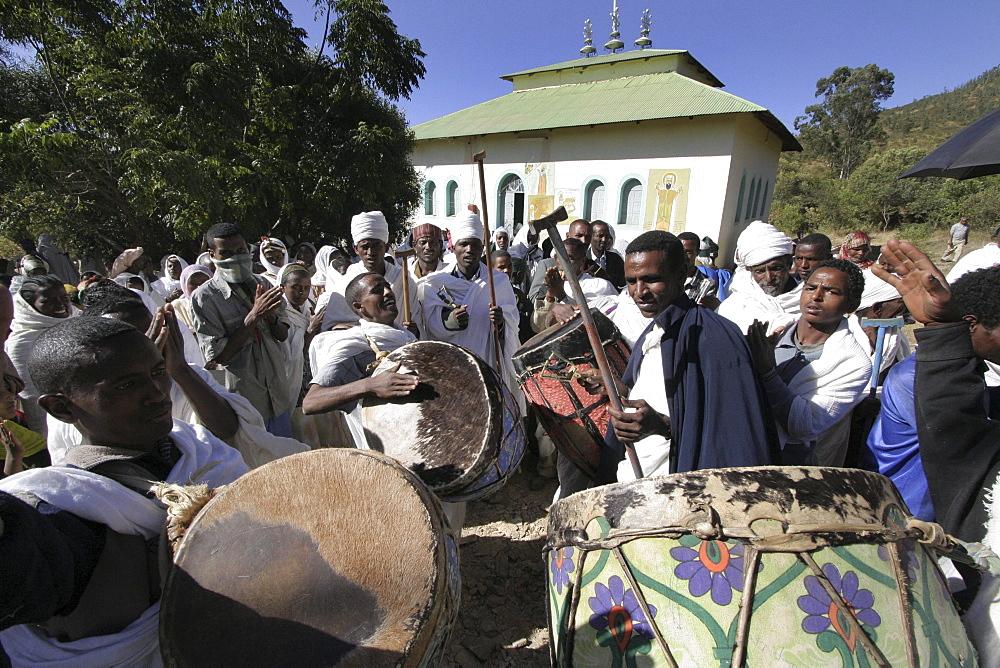 Ethiopia musicians at kidana merhet church, tigray