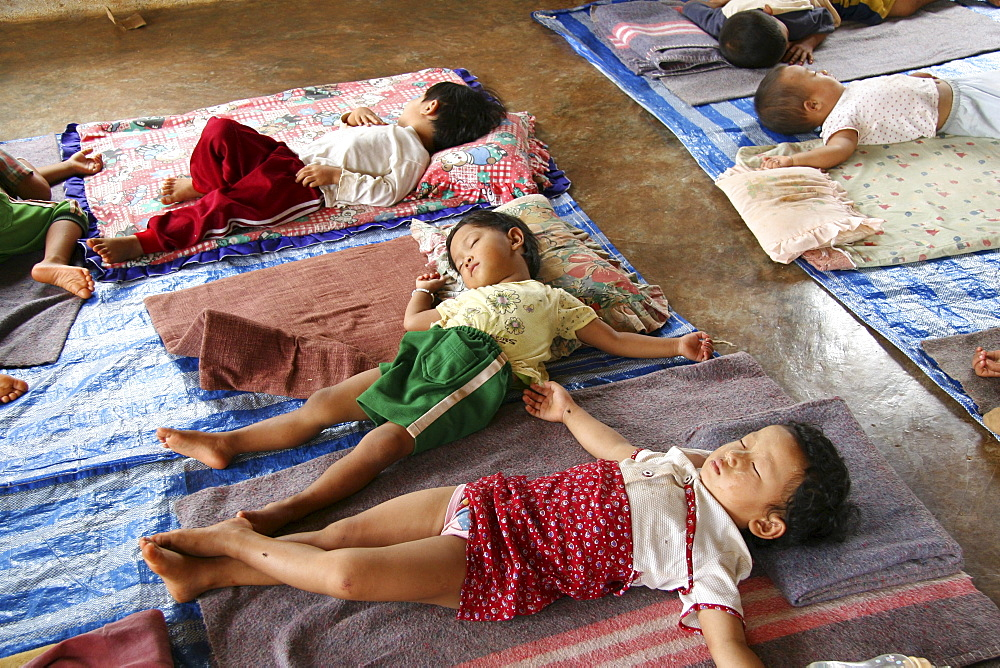 Thailand infants sleeping at day care center in chiang dao village, near chiang mai