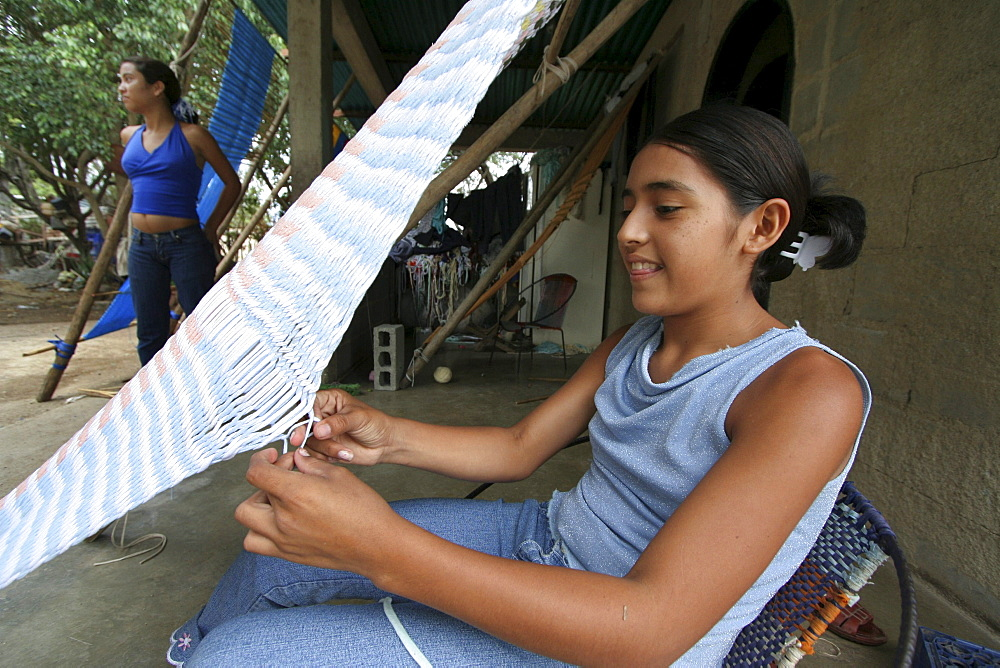 Venezuela girl making hammock, barquisimeto