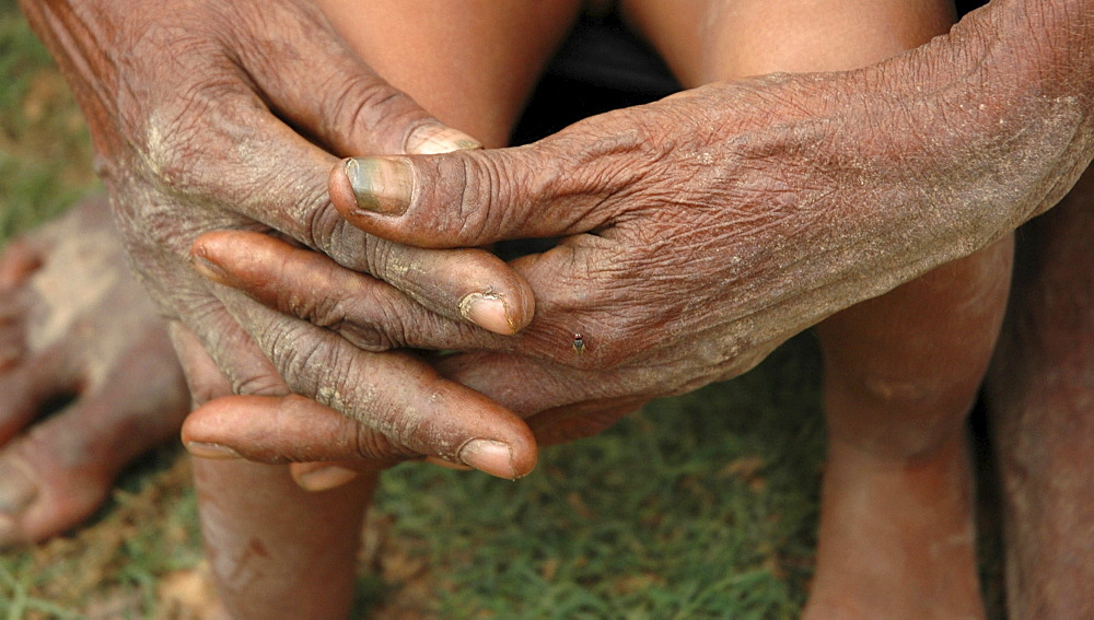 Cambodia hands of 80-year-old man, kampong cham