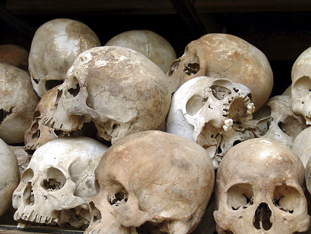 Cambodia skulls of people murdered by the khmer rouge, at the killing fields national monument, pnom penh