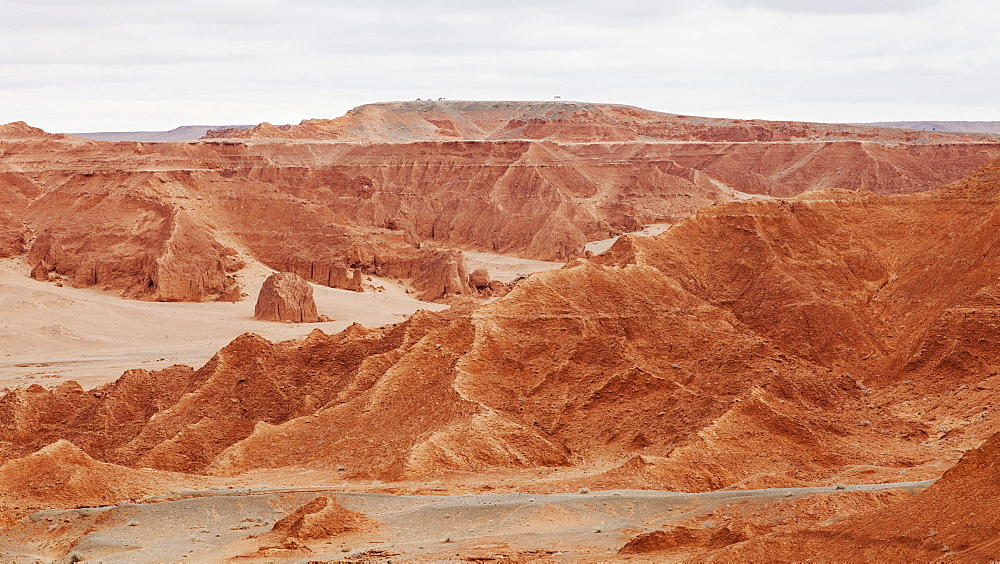 A geological formation known as the Flaming Cliffs where Andrew Shapman expedition discovered the first dinosaurs eggs, Mongolia, Central Asia, Asia