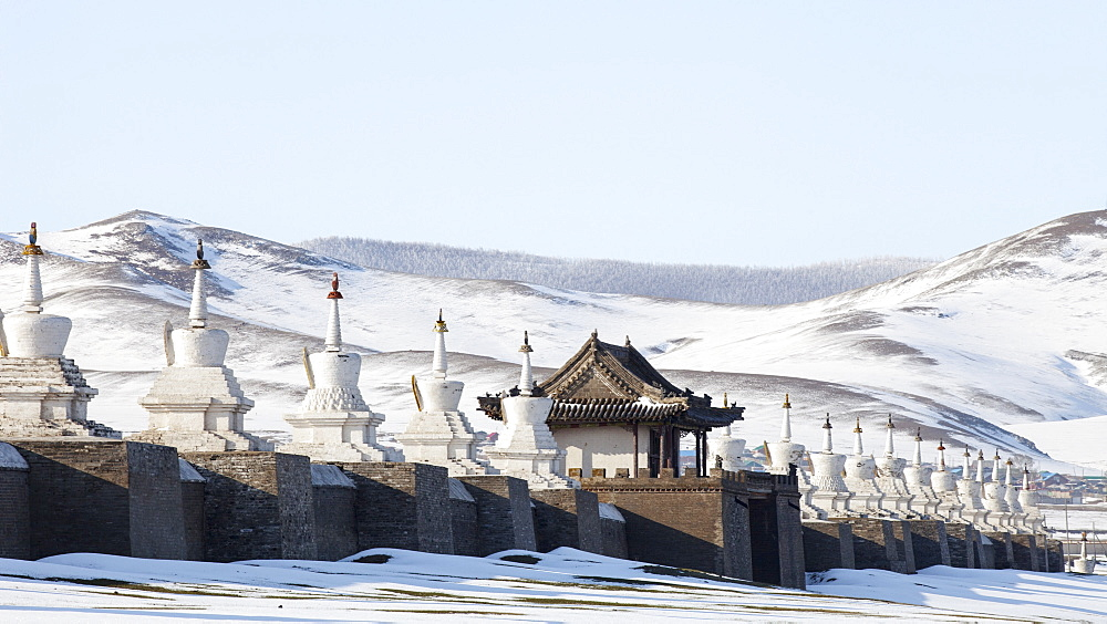 Stupas around Erdene Zuu monastery in Karakorum, Mongolia, Central Asia, Asia