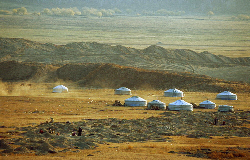 A traditional tent camp springs up around a site where ordinary mongolians exploring gold. Ninjas have been mining gold past 10 years, exhausting 10-hour days norm here. Sarangol valley, northwest of capital city ulan bator, mongolia