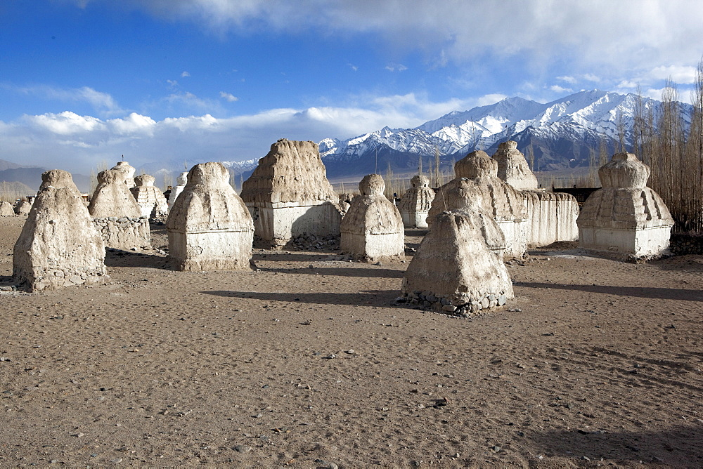 Elemental forms of chortens in the valley of chortens below Shey. The king had ordered prisoners to build chortens for merit. Shey, Ladakh, India