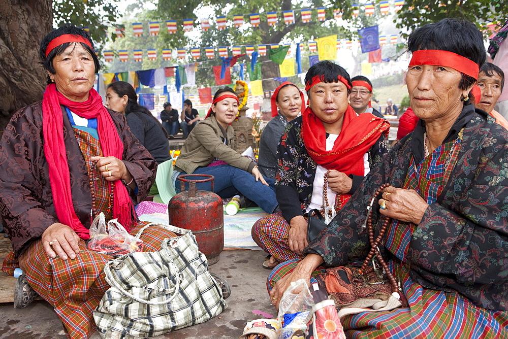 Bhutanese pilgrims meditate under bodhi tree. It is believed that gautam buddha attained unsurpassed, supreme enlightenment under this bodhi tree. Kalachakra initiation in bodhgaya, india