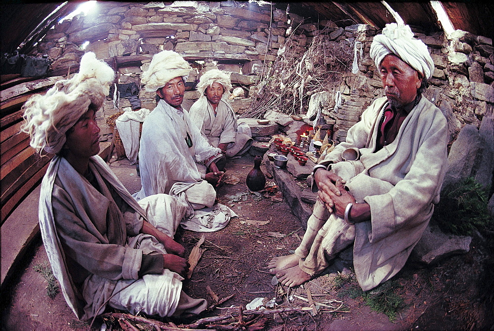 Humla, shamans. shamans central to ceremonial life, with their spirit possession high point of every collective ritual. Their white wool tufted turnans match description of zhangzhung's priests