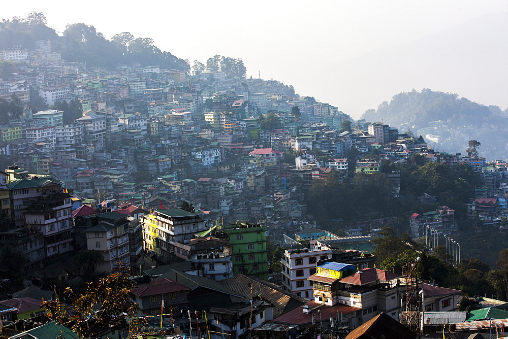 Gangtok city from Hotel Denzong Regency, Gangtok, Sikkim, India, Asia - 1196-289