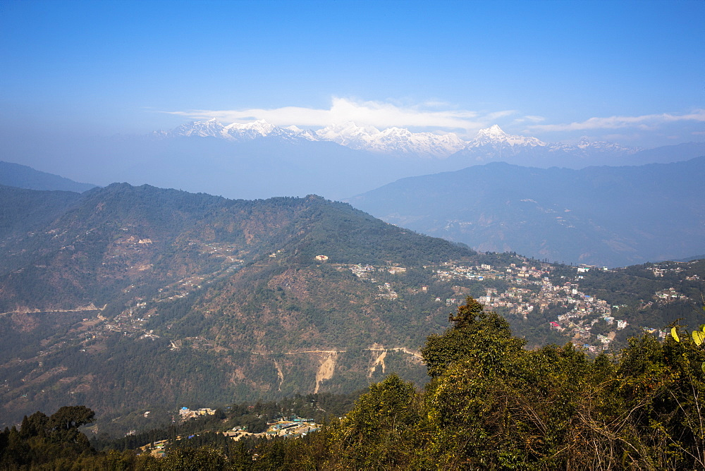 View of Kanchenjunga from Hanuman Tok temple, Sikkim, Himalayas, India, Asia
