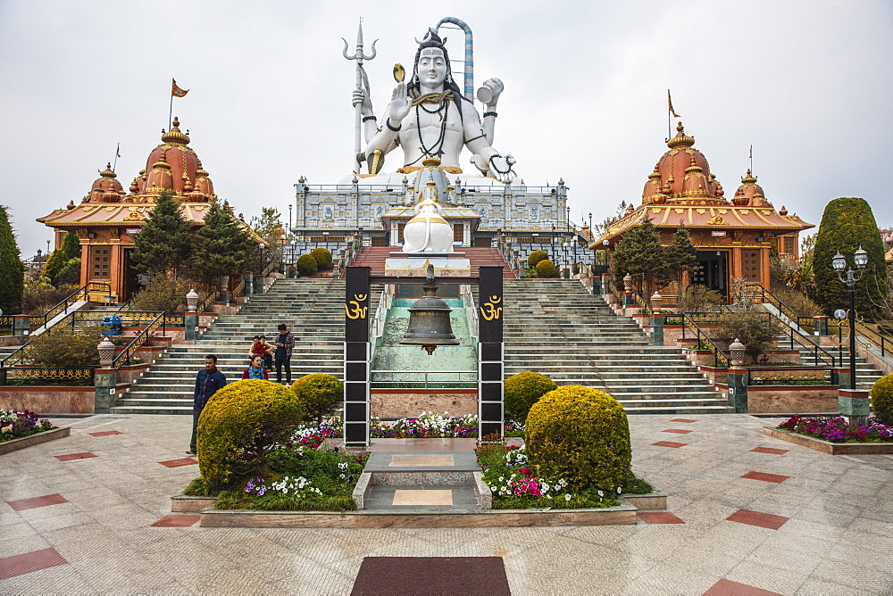 The 87 feet high statue of Lord Shiva in the sitting posture at Solophok Hill. Solophok Chardham, Namchi, Sikkim, India, Asia - 1196-297