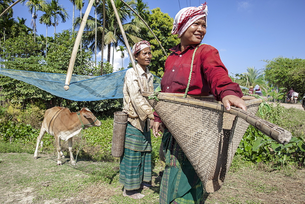 Fisherwomen of Karbi Tribe, one of the major ethnic groups in Northeast India, Assam, India, Asia