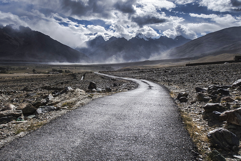 Road leading out of Kharsa village, Ladakh, India, Himalayas, Asia - 1196-337