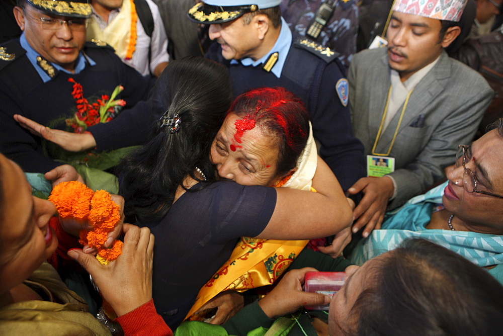 Anuradha Koirala, proclaimed winner of CNN Hero of the Year 2010, warmly greeted upon her return. Tribhuwan International Airport, Kathmandu, Nepal. A woman whose group has rescued more than 12,000 women and girls from sex slavery has been named the 2010 CNN Hero of the Year. Anuradha Koirala was chosen by the public in an online poll that ran for eight weeks on CNN.com. ?Human trafficking is a crime, a heinous crime, a shame to humanity,? Koirala said after being introduced as one of the top 10 CNN Heroes of 2010. ?I ask everyone to join me to create a society free of trafficking. We need to do this for all our daughters