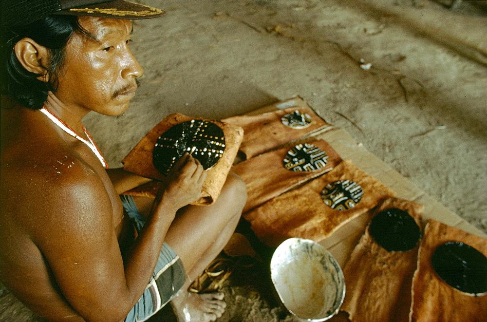 Makuna-colombian shamans making shaman mask,