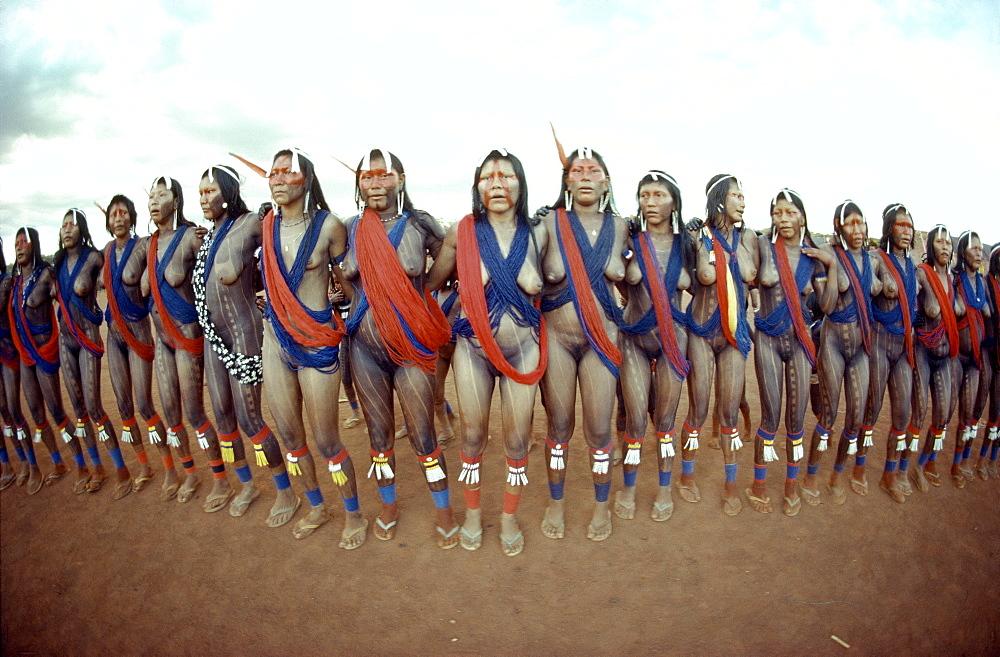 Kayapo women dancing traditional dances, brazil,amazon