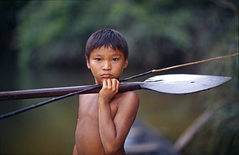 A protrait of a young makuna,amazon rainforest