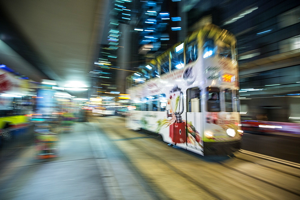 Hong Kong tram at night, Central, Hong Kong, China, Asia