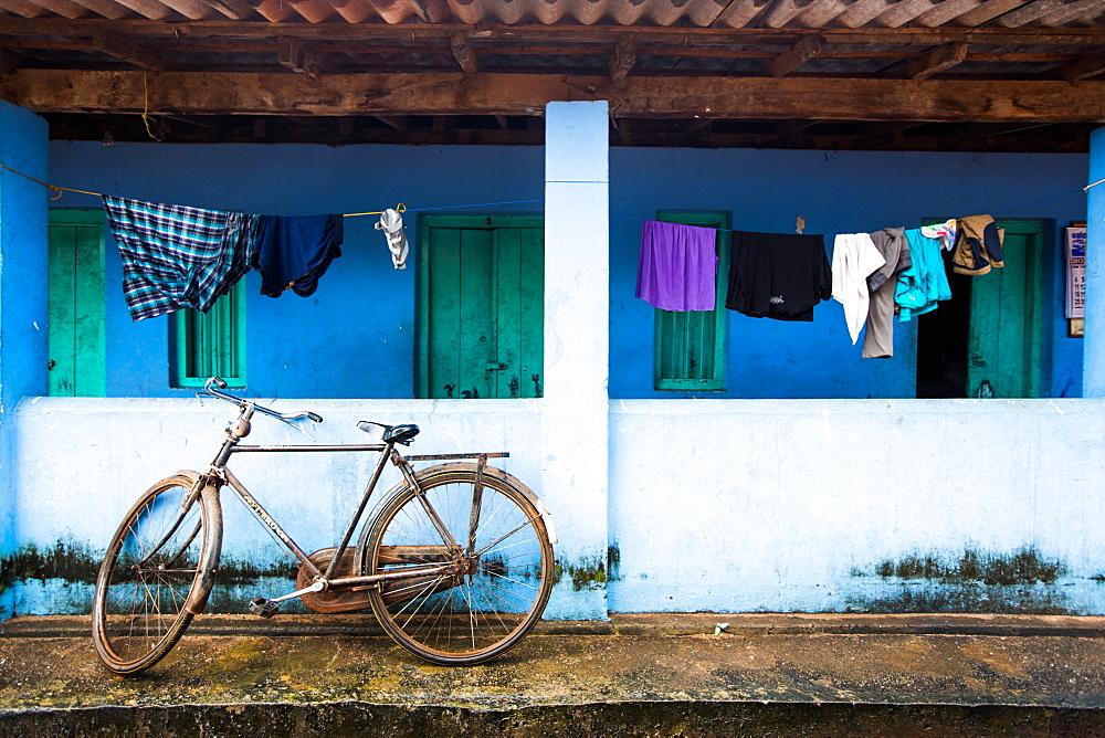 Washing line and bicycle, Sri Lanka, Asia