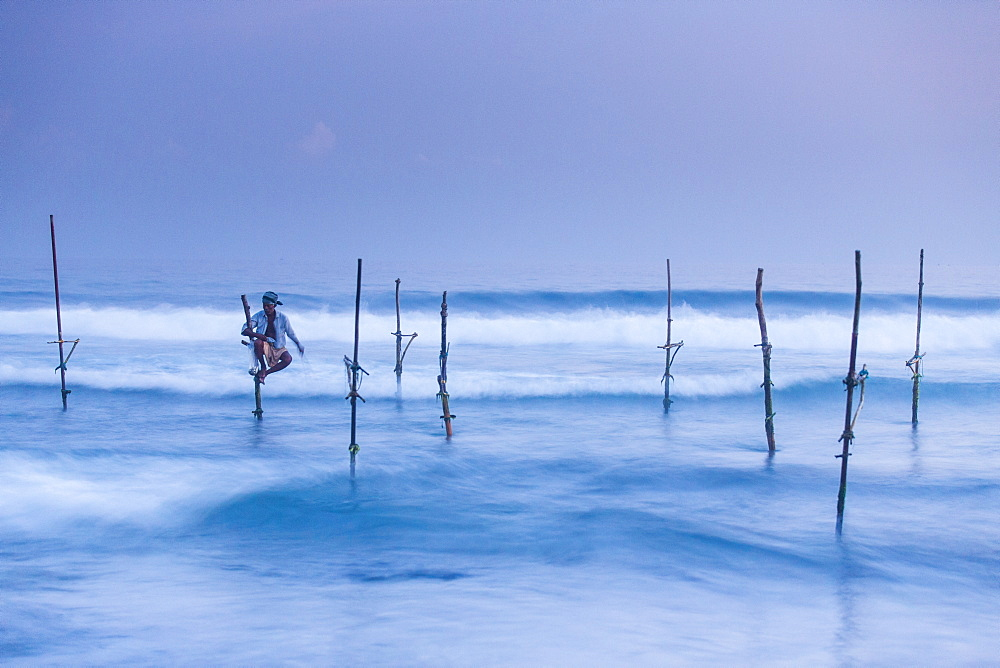 Stilt fisherman, Mirissa, Sri Lanka, Asia