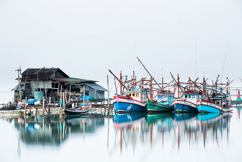 Shrimp fishing boats and house, Koh Phangan, Thailand, Southeast Asia, Asia