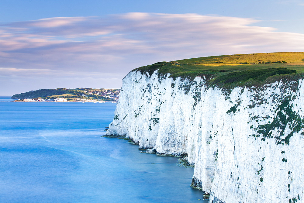 White Chalk cliffs near Old Harry Rocks, Jurassic Coast, UNESCO World Heritage Site, Dorset, England, United Kingdom, Europe
