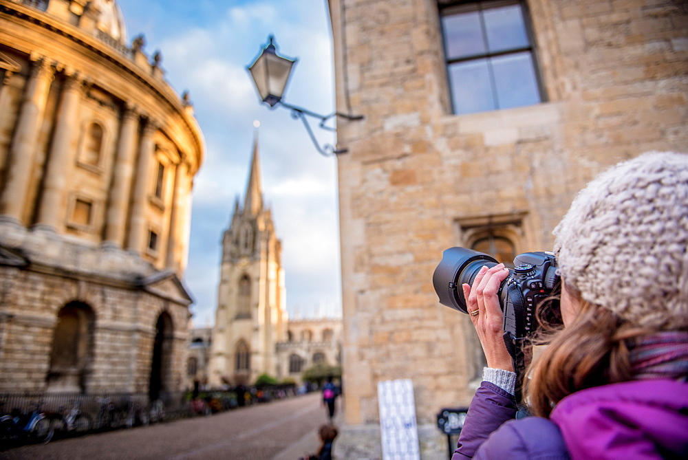 Photographer photographing St. Mary's Church and The Radcliffe Camera in Radcliffe Square, Oxford, Oxfordshire, England, United Kingdom, Europe - 1199-468
