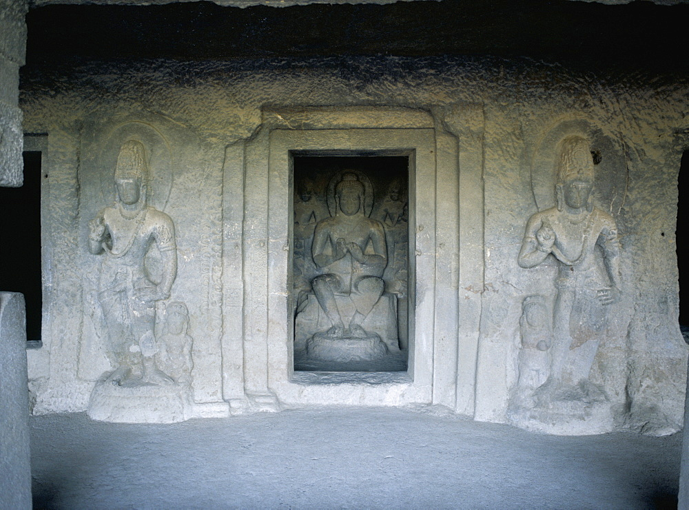 Shrine guarded by Bodhisattva figures, dating from 7th century, in Cave 5, Ellora, UNESCO World Heritage Site, near Aurangabad, Maharashtra state, India, Asia