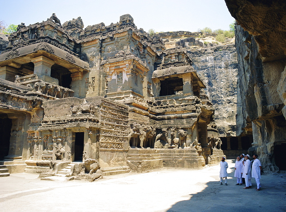 Main hall (Mandapa) from SW with entrance and Ramayana frieze, Kailasa Temple, Ellora, India *** Local Caption ***