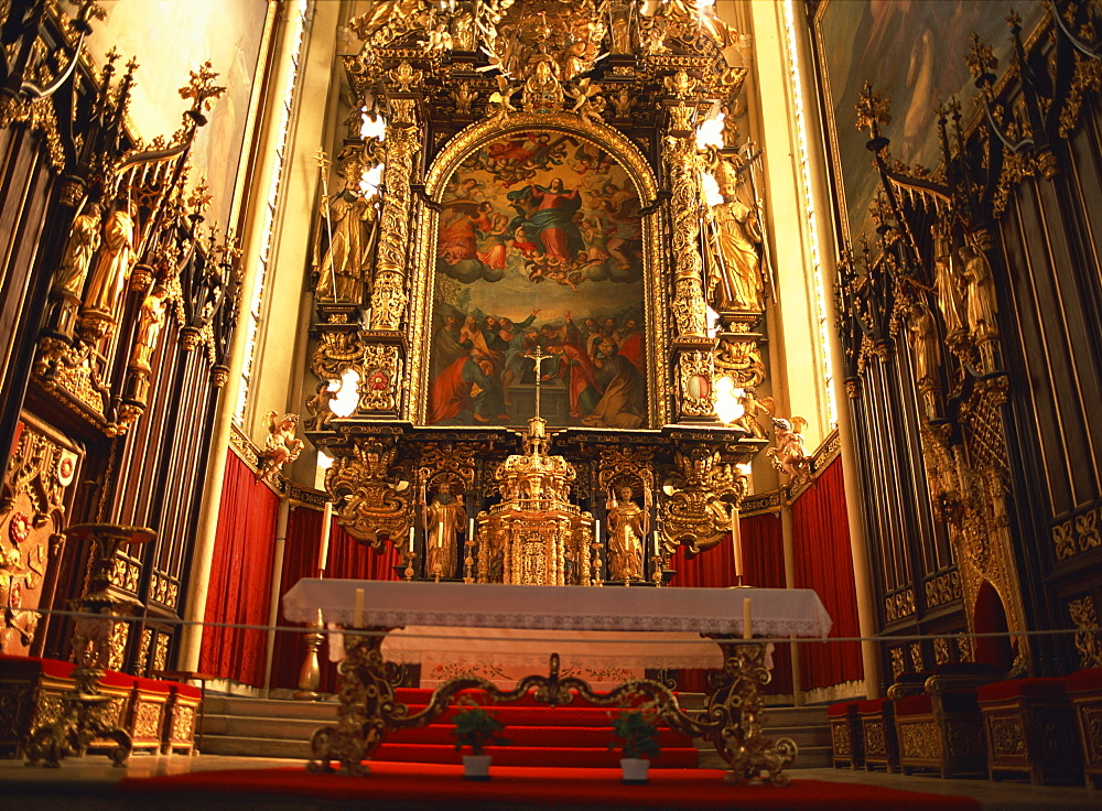 High altar dating from the 17th century by Linhart Wulliman and Franz Georgius, Cistercian Monastery Church, Vyssi Brod, South Bohemia, Czech Republic, Europe - 120-3119