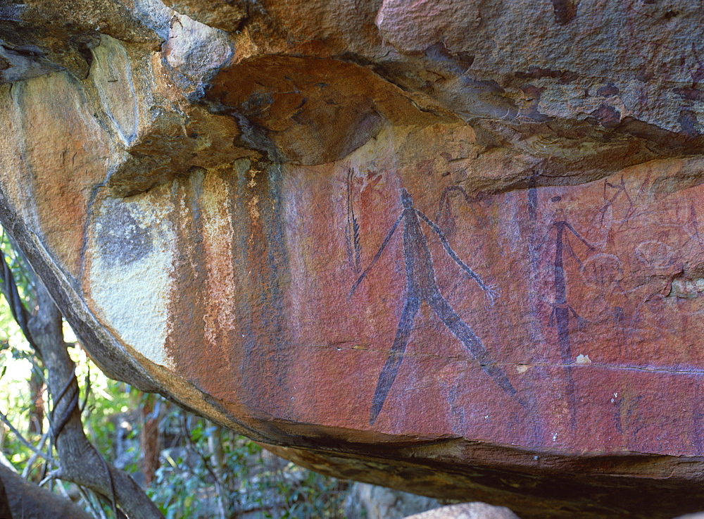 Aboriginal paintings on rock, below Little Mertens Falls, Kimberley, West Australia, Australia, Pacific - 120-3541