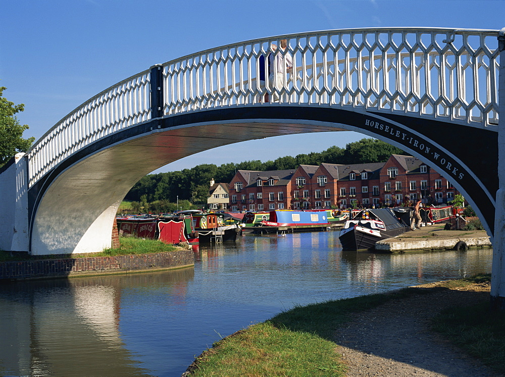 Iron bridge across entrance to Braunston Marina, off Grand Union Canal, near Daventry, Northamptonshire, England, United Kingdom, Europe - 120-3725