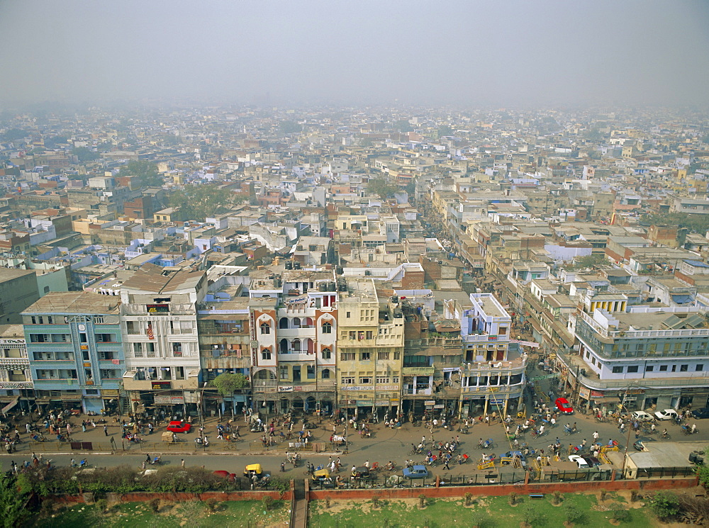 View of city from Jama Masjid across Old Delhi, Delhi, India, Asia