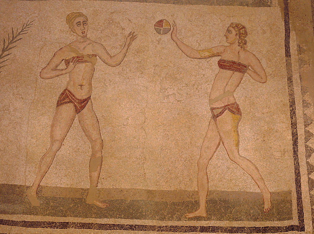 Mosaic 'Girls in bikinis' (doing gymnastics) 4th century AD, Villa Romana Del Casale, near Piazza Armerina, Sicily, Italy