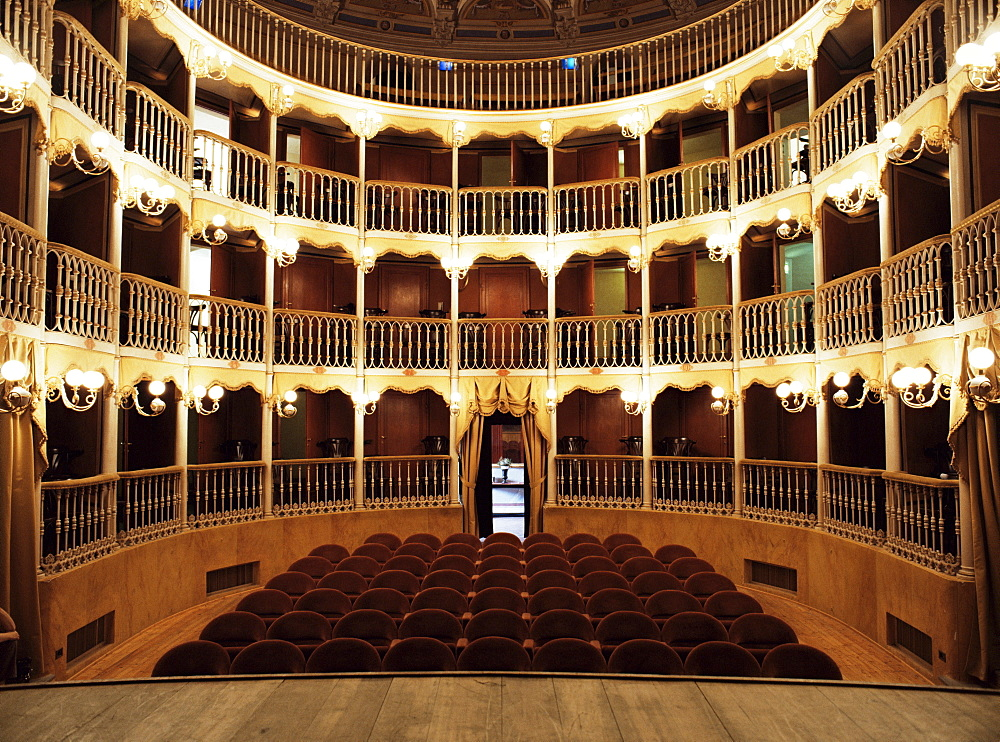 Teatro Torti, recently restored 19th century theatre, within the Gothic shell of former Palazzo dei Consoli, Bevagna, Umbria, Italy, Europe