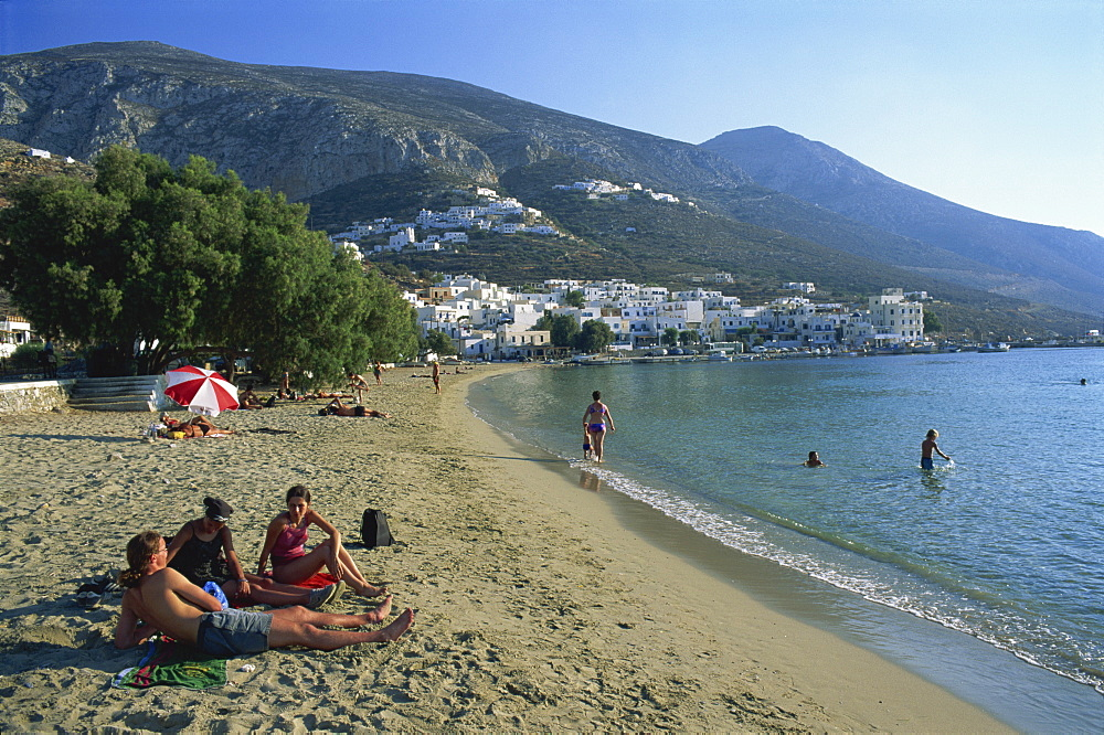 Beach and village of Egiali, Amorgos, Cyclades, Greek Islands, Greece, Europe - 120-4527