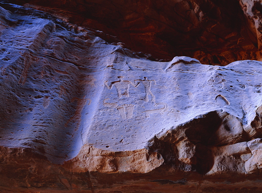 Rock drawings of Thamudic origin, relating to ancient tribe of Thamud, 3rd century BC to 2nd century AD, in canyon of Jebel Khazali, south of Rum village, Wadi Rum, Jordan