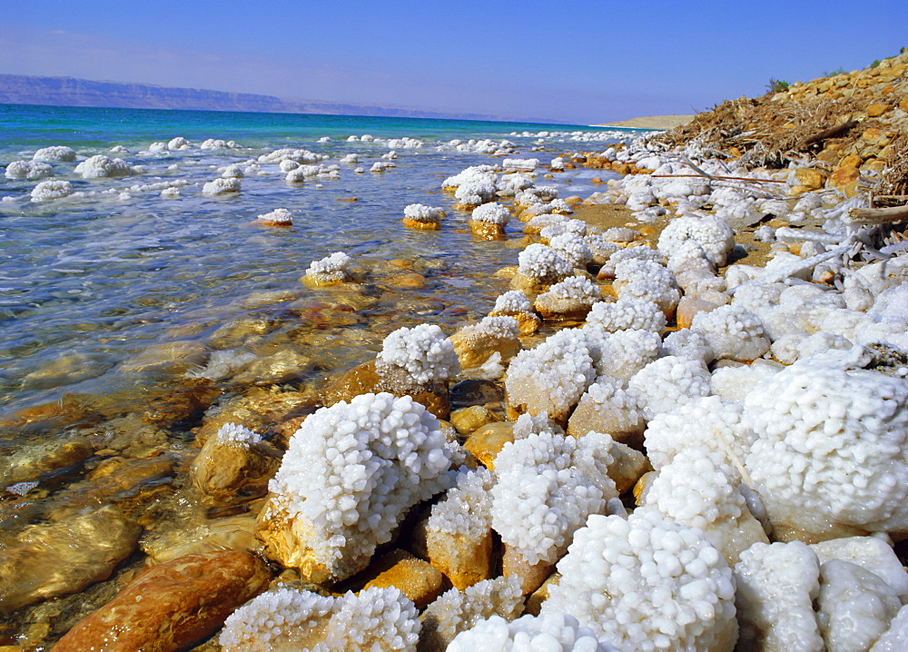 Eastern shore of the Dead Sea, with salt concentration of over 20% sodium chloride (also rich in magnesium, calcium and potassium chlorides, Jordan