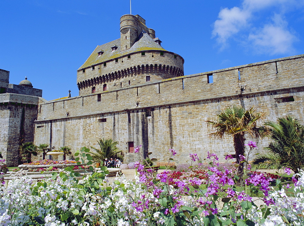 City walls near Porte St. Vincent in the old town of St. Malo, Brittany, France