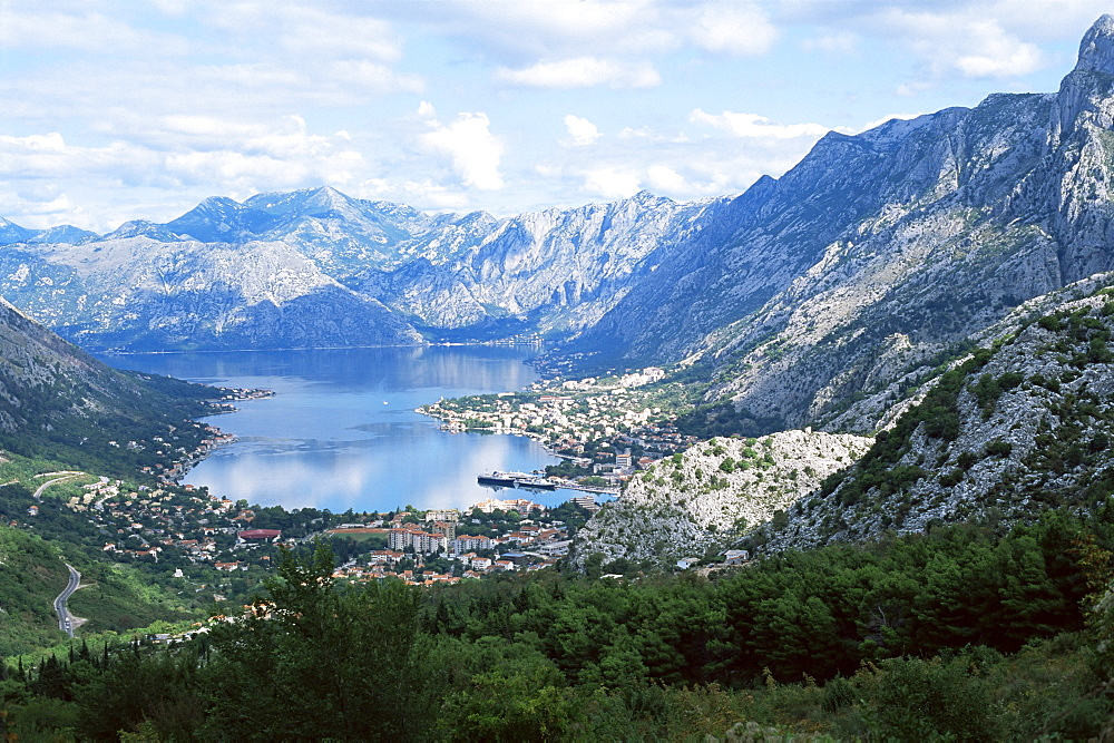 Fjord and town of Kotor, the old town is a UNESCO World Heritage Site, northern Montenegro, Europe