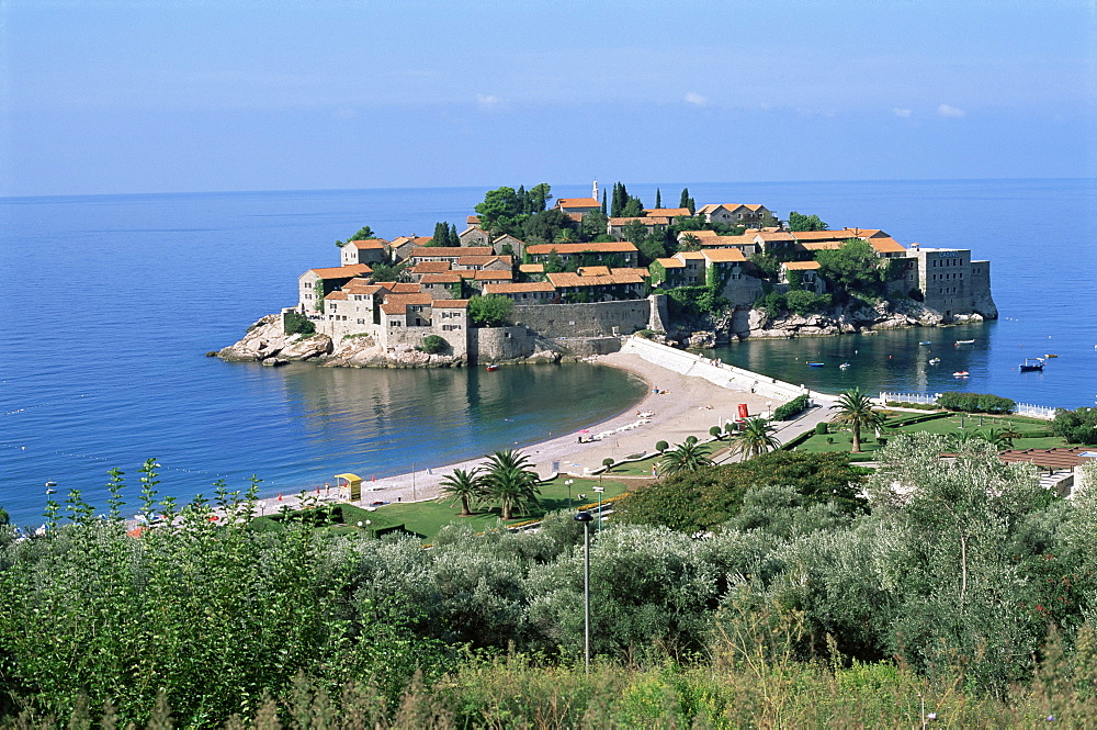 Island of Sveti Stefan (St. Stephen), once a fishing village, now a luxury hotel complex, near Budva, Montenegro, Europe
