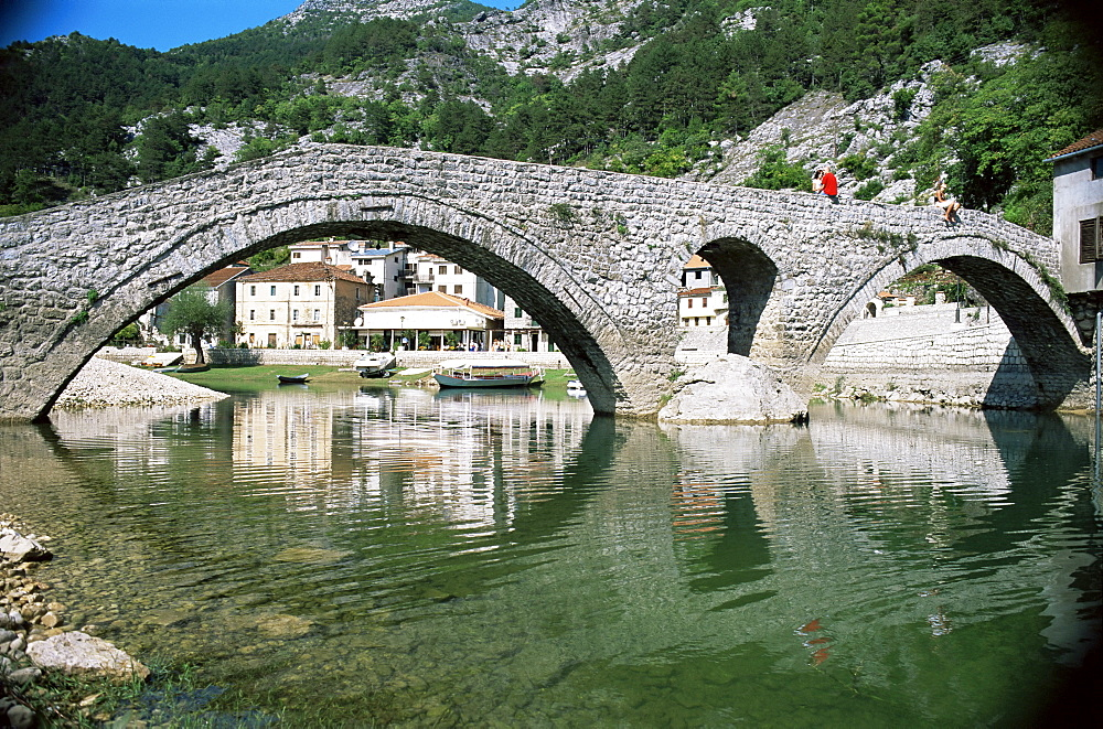 Bridge at Rijeka Crnojevica, a former royal summer resort, near Cetinje, Montenegro, Europe