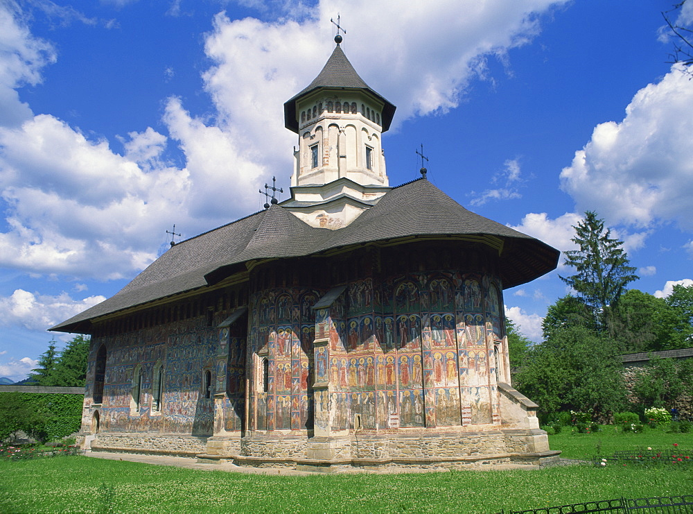 Moldovita Monastery from the southeast, exterior walls painted by Toma of Suceava in 1537, UNESCO World Heritage Site, North West Moldavia (South Bucovina), Romania, Europe