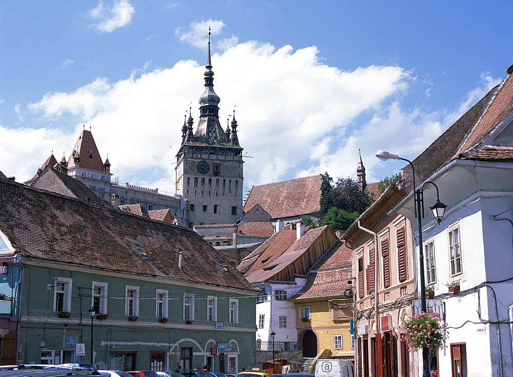 Clock tower, on old town citadel, from Piata Hermann Oberth, Sighisoara, UNESCO World Heritage Site, Transylvania, Romania, Europe - 120-4769