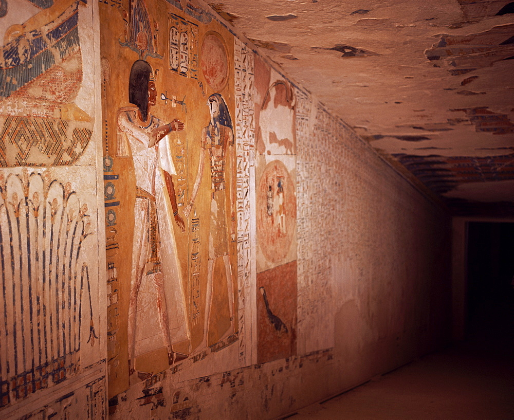 Wall paintings, Tomb of Septah, Valley of the Kings, Thebes, UNESCO World Heritage Site, Egypt, North Africa, Africa
